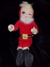Holiday Fair 1969 Vintage Winking Santa Claus Poseable Fur Doll Figurine Japan