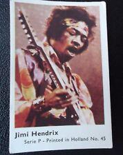 "Dutch Gum card JIMI HENDRIX SERIE ""P"" POP STARS seventies prent Holland printed"