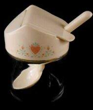 Corelle Corning Ware FOREVER YOURS Heart Gemco Glass Sugar Bowl Jelly Jar w/ Spo