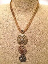 Womens Statement Gold Bib Collar Chain Necklace Multi Coloured Pendant Vintage