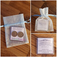 Personalised Lucky Sixpence Silver Gold Wedding Anniversary Gift Mum Dad