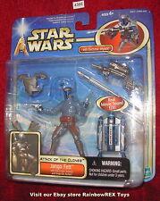 """Star Wars 2002 JANGO FETT w/Electronic Jetpack & Snap on Armor Deluxe 3.75""""  MOC"""
