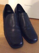 """Amanda Smith Size 7.5 women's black leather slip on shoes, 2.25"""" stacked heel"""