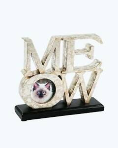 Pet Junkie MEOW Cat Picture Frame, Silver Aluminum with Black Base
