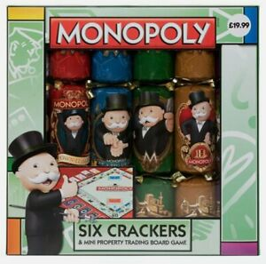 Rare Hasbro Licensed Monopoly Novelty Christmas Crackers Board Game Set of 6