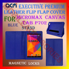 ACM-EXECUTIVE LEATHER FLIP CASE for MICROMAX CANVAS TAB P702 COVER STAND - BLUE