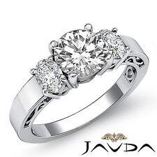 Diamond 1.45ct Round Cut 3 Stone Engagement Filigree Ring GIA F VVS2 Platinum