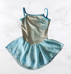 GK Elite Sportswear Camisole Ice Skating Strap Dress Girls Large Teal Halloween