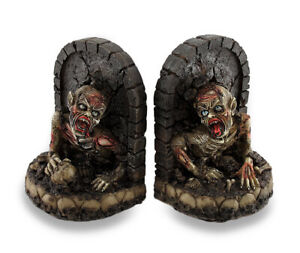 Zeckos Zombie Breaking Out of Grave Bookend Set of 2