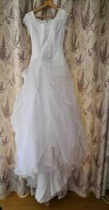 Eternity White Wedding Dress Bridal Gown Size UK 6 / 8 Small Trail Short Sleeves