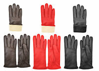 Mens and Womens Real Leather Driving Gloves Retro Classic Inner Fleece Warm
