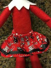 CHRISTMAS ELF GIRL DOLL SKIRT Red w/ Kitty Cats Hearts Cat Lovers Elf Clothes