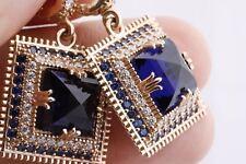 Turkish Jewelry Ottoman Huge Square Sapphire Topaz 925 Sterling Silver Earrings
