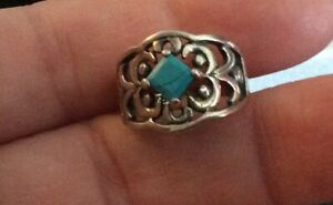 """STERLING 925 """"A"""" GORGEOUS TURQUOISE RING SIZE 5 - 3.5g"""