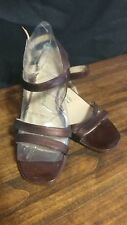 Adrienne Vittadini Brown Patent Leather Strappy Sandals Low Heel 6M la