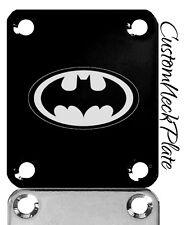 Black Batman Engraved Guitar Neck Plate fits Fender tele/strat/s