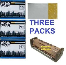 3 Packs Urban Wraps Filter Printed 1 1/2 Rolling Papers 33 Per Pk & Raw Roller