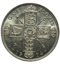More details for 1914 king george v silver florin / two shillings coin - unc