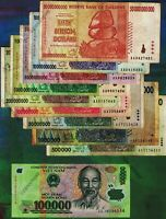 10PC Banknotes Set 500,000 to 50 Billion Zimbabwe Dollars + 100,000 Vietnam Dong