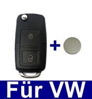 2Tasten Ersatz Schlüssel Klappschlüssel Funkschlüssel für VW Golf4 IV + Batterie