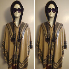 Bohemian/Hippy Brown Hooded Knitted Poncho by Do Everything in Love. Free Size.