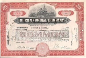 Bush Terminal Company stock certificate New York, 1937