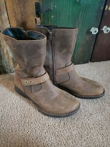 Women Merrell Performance Leather Boots Brown CLAY Side Zipper SiZe 11 EUC!!!