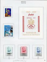 MONACO MOSTLY 1998  SELECTION  OF MINT STAMPS ON ALBUM PAGES-