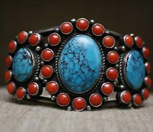 Kirk Smith Native American Navajo Coral Turquoise Sterling Silver Bracelet