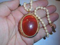 HOBE 25CT Red Jade LOCKET Necklace Choker 5mm Majorca Pearls Vintage Label Mint