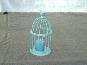 Turquoise Bird cage candle holder, with candle