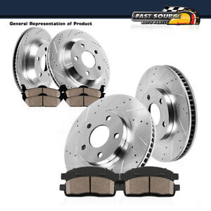 For Audi A4 Front+Rear 4 Drilled Slotted Brake Rotors And 8 Ceramic Pads