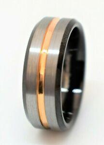 Tungsten Ring Silver Brushed Black Edge Gold Stripe Men's Women's Wedding Band