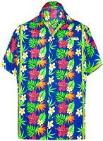 "LA LEELA Likre Vacation Party Shirt Bright Blue 506 XL | Chest 48"" - 52"""