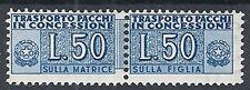 1953-55 ITALIA PACCHI IN CONCESSIONE 50 LIRE RUOTA MH * - RR12541