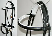 FSS German BLACK WHITE Padded ROLLED  Comfort Crank Snaffle Dressage Bridle Rein