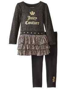 Juicy Couture Girls Black & Gold Logo Tunic & Leggings Outfit Set NEW Tags 4 5 6