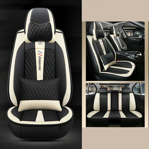 5-Seat Car Seat Cover Protector+Cushion Front&Rear Full Set PU Leather Interior