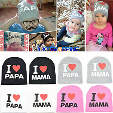 Newborn Baby Cotton Hats Cute Infant Kids Knitted Beanie Hat I Love Mama/Papa