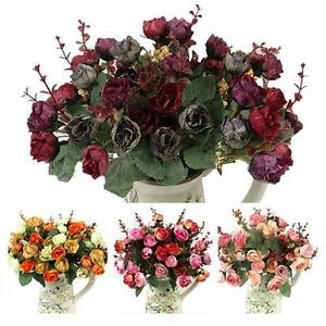 21 HEADS Bouquet Artificial Dried Rose Flower Wedding Office Home Decoration Hot