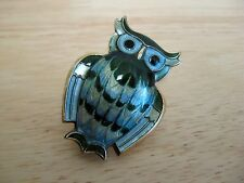 Owl Pin / Brooch - Guilloche Enamel - Sterling Silver - David Andersen