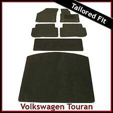 VW Touran Mk1 2003-2010 Clips Oval a Medida Alfombra Alfombrillas de arranque para automóviles y equipada Negro