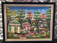 Vintage Acrylic Painting From Santo Domingo Signed Pierre