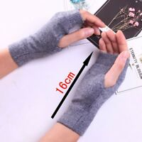 100% Cashmere Half Fingerless Thumb Hole Warm Gloves for Men Women  Gift hi