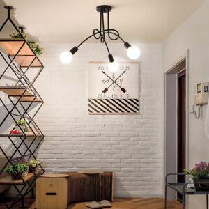 3 Way Black Painted Pendant Lights Modern Semi Flush Iron Ceiling Light Fixtures