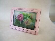 Shabby Vintage pink Frame Paris Chic Robin Rose Print wood girl puppy