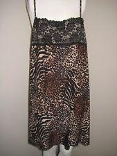 Animal Print Nightgown Chemise Black Lace Sz 18