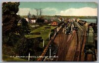 Postcard Hamilton Ontario c1913 Grand Trunk Railway Station Trains Depot