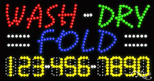 """NEW """"WASH-DRY FOLD"""" 32x17X1 w/YOUR PHONE NUMBER SOLID/FLASHING LED SIGN 25118"""