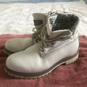 Timberland 6 Inch Premium Boot 10.5 White Gray Canvas Upper Roll Top Ankle
